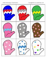 """Winter Theme -- animal tracks w/play dough, shaving cream snow (practicing letters/name), and mitten graphing, mitten counting match game, mitten matching cards, snowflake matching cards, winter patterns (using small die cuts), winter sorting (small die cuts), snowball sizes with 3 different sized pom poms, dramatic play center (w/mittens, scarves, hats, etc.), """"Ice"""" skating"""