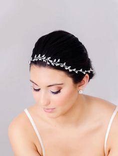 Silver Rhinestone Bridal Halo, Hair Vine, Wedding Crown