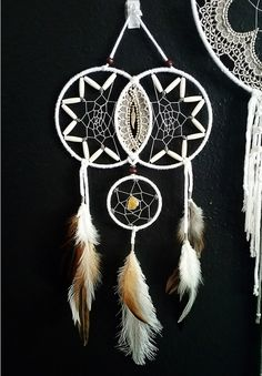 Dream catchers have been used for ages to filter out all bad dreams and only allow good thoughts and energy to slide down the feathers of the sleeper. Used as protective charms. Is absolutely one of a Dream Catchers For Sale, Dream Catcher Art, Dream Catcher Mobile, Dreams Catcher, Diy And Crafts, Arts And Crafts, Dream Catcher Native American, Medicine Wheel, String Art