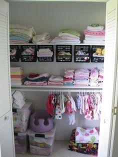 Great organization idea for a nursery closet