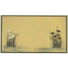 Japanese Silk Screen: Irises