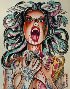 Medusa by Henning Jorgensen - Aaron Bell Medusa Art, Medusa Gorgon, Life Tattoos, Tatoos, Greek Monsters, Snake Girl, Turn To Stone, Beautiful Goddess, Creative Inspiration