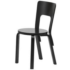 Aalto tuoli 66, maalattu musta