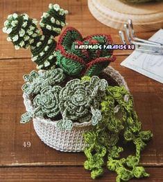 kaktusyi-i-sukkulentyi-kryuchkom-shemyi-3 Cactus Amigurumi, Crochet Cactus, Diy Crochet, Yarn Flowers, Knitted Flowers, Crochet Flower Patterns, Amigurumi Patterns, Knitting Patterns, Flower Chart