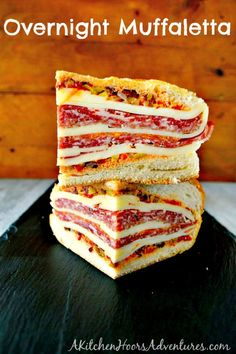 Overnight Muffaletta Sandwich - My Recipe MagicYou can find Sandwiches and more on our website.Overnight Muffaletta Sandwich - My Recipe Magic Brunch Recipes, My Recipes, Breakfast Recipes, Cooking Recipes, Favorite Recipes, Breakfast Ideas, Italian Recipes, Appetizer Sandwiches, Sandwiches For Lunch