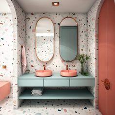 Bad Inspiration, Bathroom Inspiration, Terrazzo, Toilet Design, Bathroom Trends, Beautiful Bathrooms, Bathroom Interior Design, Room Decor, Bathroom Wallpaper Modern