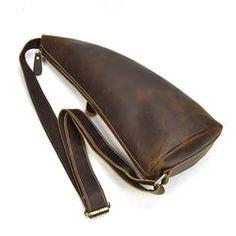 6ff1af09e9d5 Handmade Leather Mens Cool Chest Bag Sling Bag Crossbody Bag Travel Bag  Hiking Bag for men