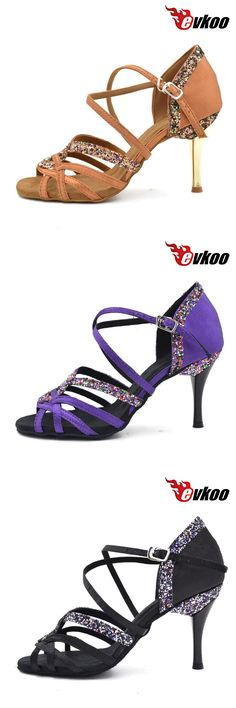 [Visit to Buy] Evkoodance Black brown Purple 8.5cm girls Ladies Zapatos De Baile Latino Latin Salsa Ballroom Dance Shoes For women Evkoo-006 #Advertisement