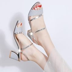 Heel Height Sandals Women Shoes Peep toe Square Heels Ladies Sandals Summer Shoes Woman Fashion- Women's style: Patterns of sustainability Womens Summer Shoes, Pretty Shoes, Pretty Sandals, Fashion Heels, Women's Shoes, Mel Shoes, Shoe Boots, Cute Shoes Heels, Fancy Shoes