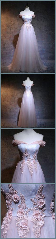 A-line Princess Off-the-shoulder Appliqued Prom Dresses Floor Length Dresses ASD2588 off-the-shoulder prom dresses, formal dresses, princesses, cute dresses, fashion dresses,girl,young