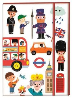A high-quality, hard back A5 london notebook, featuring Marion Billet's illustrations of London icons. With a flick-book-style Queen's Guard marching through its 148 lined pages plus a nifty elastic w