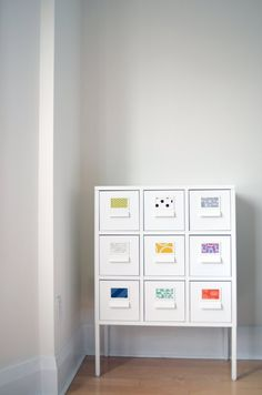 Ikea SPRUTT with colored fabric labels for craft storage & organizing. A very easy DIY / light Ikea hack. From patchanddot.com.