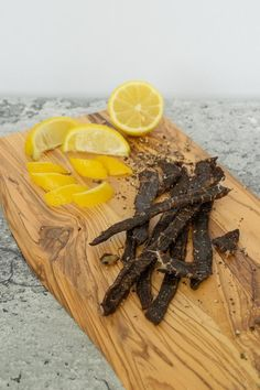 A lemon peppered jerky that will get your taste buds begging for more. A little spice and refreshment from the lemon pepper is what makes this recipe work. Peppered Beef Jerky Recipe Dehydrator, Mushroom Jerky Recipe, Keto Beef Jerky Recipe, Deer Jerky Recipe, Homemade Beef Jerky, Venison Recipes, Dehydrator Recipes, Mushroom Recipes, Jerky Marinade