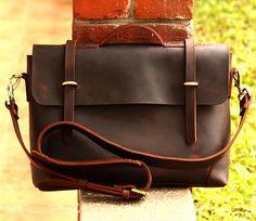 """Handmade Vintage Leather Briefcase / Leather Messenger Bag / 13"""" 15"""" MacBook 13"""" 14"""" Laptop Bag S21"""