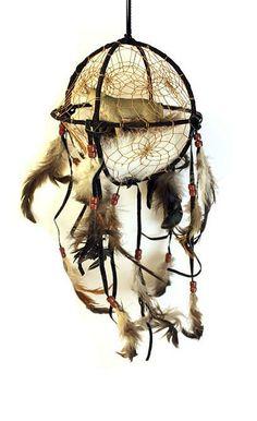 Globe Dream Catcher with Wolf: