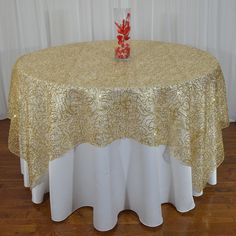 Special Lasso Spider Mesh Sequin Overlays, 72 x 72; and 90 x 90; made in the USA.