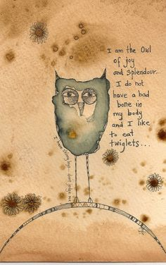 ARTFINDER: The Owl Of Joy And Splendour by Jilly  Henderson - 'The Owl Of Joy And Splendour' is an original artwork on hand stained paper, drawn in ink and pencil. Measuring 95mm x 150mm in size it is a cute, cheeky lit...