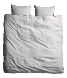 Check this out! PREMIUM QUALITY. King/queen duvet cover set in washed linen with double-stitched seams at edges. Duvet cover fastens at foot end with concealed metal snap fasteners. Two pillowcases. Thread count 104. Tumble-drying will help keep linen soft. - Visit hm.com to see more.