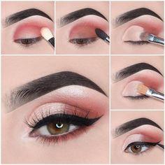Easy Steps Pink Eye Makeup Tutorial Ideas For Beginners To Look Amazing! - Easy Steps Pink Eye Makeup Tutorial Ideas For Beginners To Look Amazing! Pink Eye Makeup, Smokey Eye Makeup, Simple Eye Makeup, Eyeshadow Makeup, Eyeshadow Ideas, Pretty Makeup, Colourpop Eyeshadow, Glitter Eyeshadow, Colorful Eyeshadow