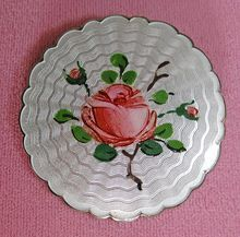 Vintage Sterling Enamel Guilloche Norway Holt Rose Brooch from Quick Red Fox