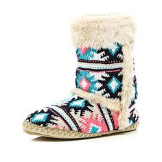 coral and blue navajo print slipper boots on Wanelo