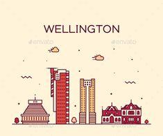 Wellington City Skyline New Zealand Vector Linear #Skyline, #City, #Wellington, #Linear