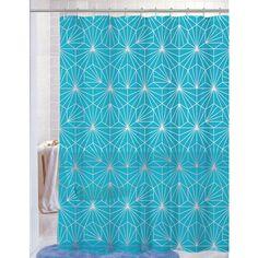 "PEVA Shower Curtain With Matching Metal Hooks, 70""""x72"""", Geometric Print, Amelia - 4 Colors"