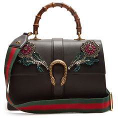 Gucci Dionysus large rose-appliqué leather tote ($4,740) ❤ liked on Polyvore featuring bags, handbags, tote bags, black, genuine leather tote, stripe tote, striped totes, leather purses and gucci purse