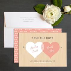 Two Hearts Save The Date Cards by Ringleader Paper Co. | Elli