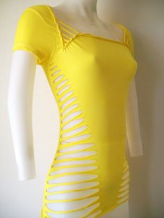 10% OFF  SEE SITE FOR DETAILS!!   Junior / Womens Bright Yellow Cut Shirt  Sexy by LasciviousGrace, $48.00