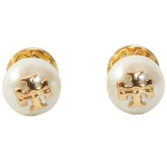 Tory Burch Earrings ($63) ❤ liked on Polyvore featuring jewelry, earrings, bianco, tory burch jewelry, pearl earrings jewellery, tory burch earrings, tory burch and earring jewelry