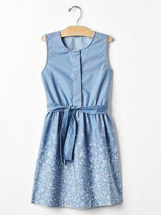 1969 floral border denim dress