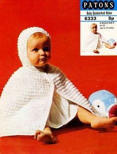 Vintage Baby's Hooded Cape Crochet Pattern 1960 by LittleJohn2003