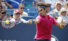 Roger Federer on his way to a 7-6, 6-3 victory over Novak Djokovic in the final of the Cincinnati Masters.