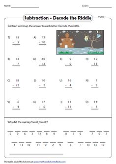 Decode the riddle: and single-digit subtraction First Grade Math, Grade 2, Teaching Math, Maths, Brain Teasers For Kids, Subtraction Worksheets, Math Facts, Decoding, Home Schooling