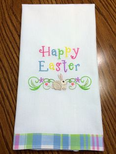 Easter towel embroidered on my Brother PE770.  Towel purchased at http://www.allaboutblanks.com/DT-GardenWhimsy_Plaid.htm.  Giggles Satin font from Jolsons.com.  Bunny Border:  http://www.emblibrary.com/EL/Products.aspx?Catalog=Emblibrary&ProductID=F9570.  Sew What Pro software.  Metro thread.