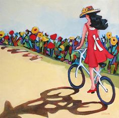 """Daily Painting, """"Joy Ride,"""" girl riding a bicycle Bicycle Painting, Bicycle Art, Bike Illustration, Art Illustrations, Clark Art, Gif Animé, Cycling Art, Vintage Posters, Folk Art"""