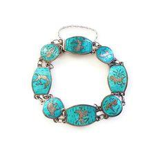Siam Sterling Bracelet, Silver Enamel Bracelet, Thai God Goddess, Aqua Turquoise, Vintage Jewelry by zephyrvintage on Etsy