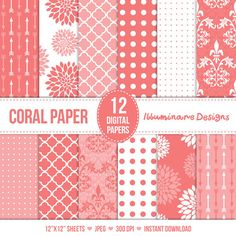 Coral Digital Paper: Pink Coral Digital Scrapbooking Paper Pack in Floral, Arrows, Quatrefoil, Damask, Dot Patterns - Commercial Use Ok