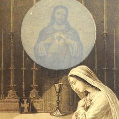 from a blog called The Vintage Catholic Collector. When the holy card is held up to the light,the image of Jesus appears within the host <3