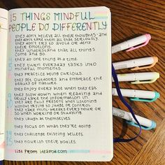 After the fantastic sent me an article on mindfulness, I've been interested in learning more about how to use it to help ease my anxiety. Here is one list I found as a good reminder. Self Care Bullet Journal, Bullet Journal Notes, Bullet Journal Junkies, Bullet Journal Ideas Pages, Bullet Journal Inspiration, Journal Layout, Journal Prompts, Book Journal, Journal Diary