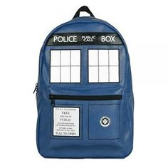 Dr. Who Tardis Backpack This Dr. Who Tardis backpack has a front pocket that includes a zipper with a telephone panel plaque with adjustable padded straps. Perfect for school or travel. Material: 100%