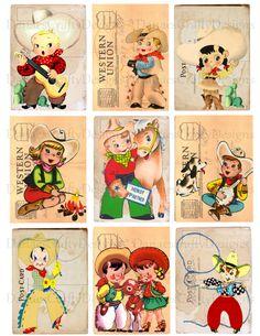 Retro Cowboy & Cowgirl Children Tag Collage Sheet - CS R11 - Digital Download - Buy 2 Get 1 - Party,Scrapbook,Collage. $3.00, via Etsy.