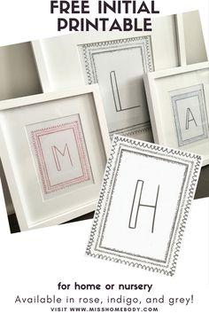 Free Initial Printable for nursery or home - Geometric - Modern - Neutral - Free Printable
