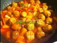 Roasted pork simmered in sweet and sour liver sauce Meatball Recipes, Pork Recipes, Pork Recipe Pinoy, Banana Ketchup, Sweet And Sour Meatballs, Lechon, Pork Ribs, Asian, Wok