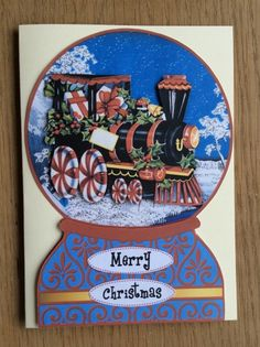 Train Snow Globe Christmas Card 50p - Creative Connections #craftfest