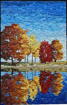 Mosaic stained glass art is constructed on a hollow terracotta sphere. Mosaic Crafts, Mosaic Projects, Paper Mosaic, Mosaic Ideas, Stained Glass Art, Mosaic Glass, Landscape Art Quilts, Mosaic Artwork, Mosaic Wall Art