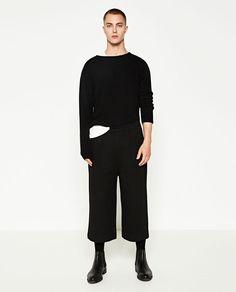 Image 1 of DARK WIDE-LEG TROUSERS from Zara