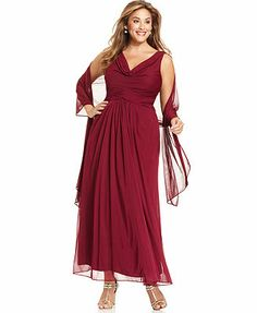 Alex Evenings Plus Size Sleeveless Pleated Gown and Shawl-not in local stores