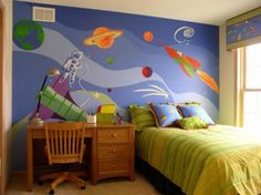 Outer space room for Cayden he loves his planets!
